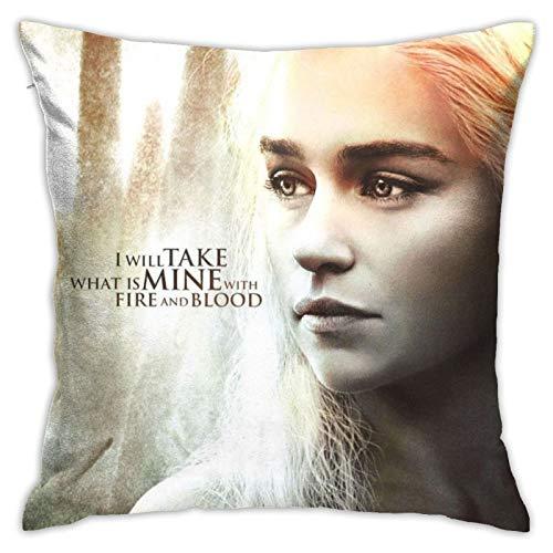 Daenerys Targaryen - Funda de almohada decorativa para el hogar, para sala de estar, dormitorio, sofá, silla, funda de almohada de 45,7 x 45,7 cm