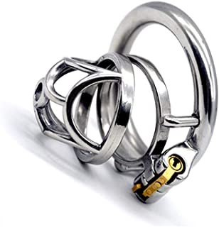 LQZYTY Short Stainless Steel Rhombus Chastity Lock Metal Ring Penis Ring for Men's Health Products T-Shirt Configuration