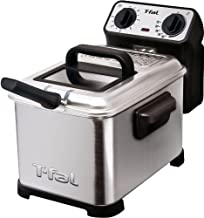 T-fal FR4049 Family Pro 3-Liter Oil Capacity Electric Deep Fryer with Stainless Steel Waffle, 2.6-Pound, Silver - 7211002482