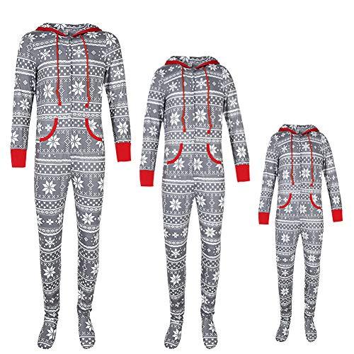 URMOSTIN Weihnachten Pyjama mit Kapuze und Füßen Jumpsuit Onesie Einteilige Schlafanzüge Warm Strampler Familie Matching Xmas Nachtwäsche Schlafoverall Weihnachtskostüm mit Reißverschluss