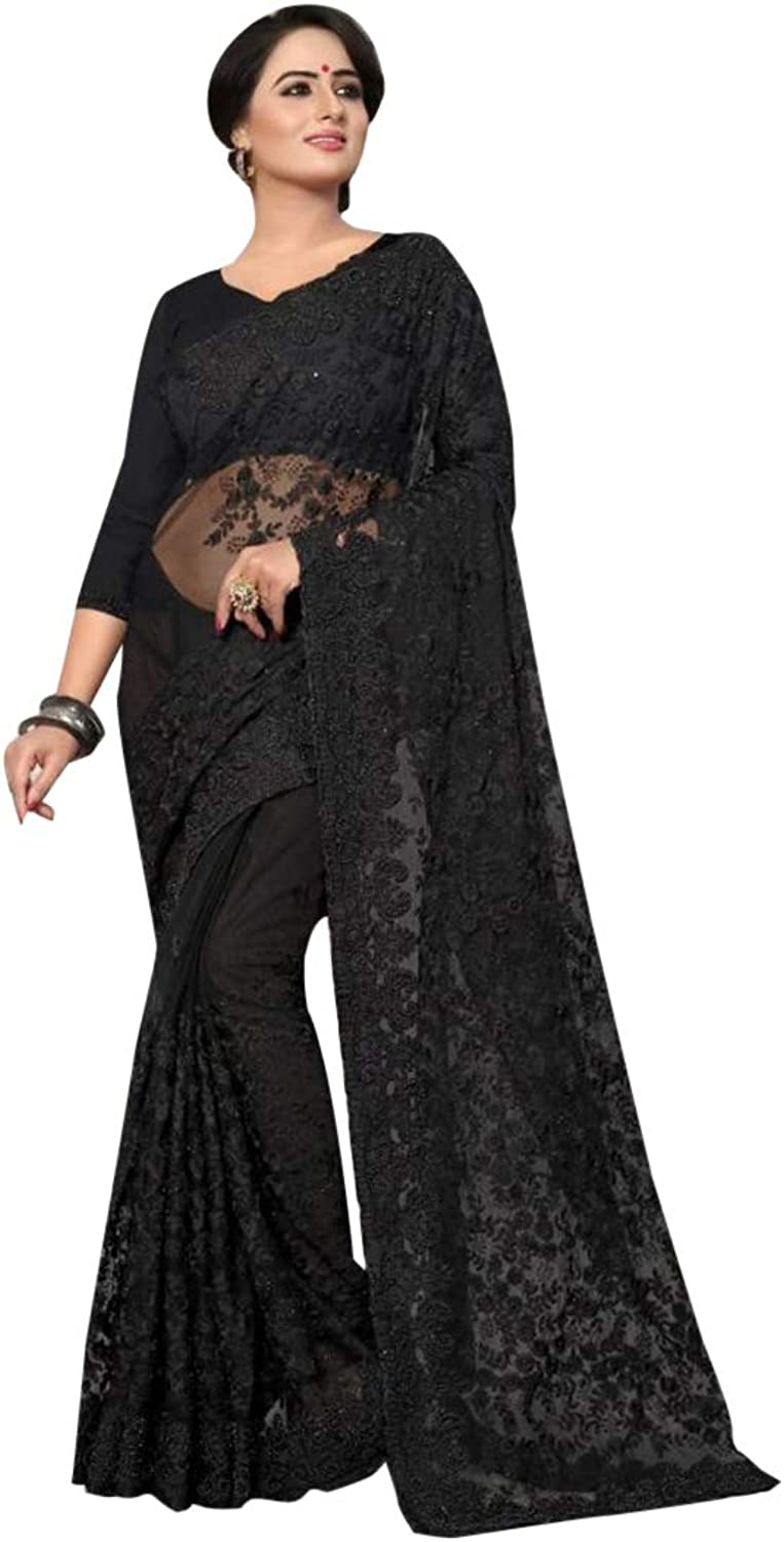 Designer Cocktail dress Pure Net Indian Women Black Saree with Stitched Blouse 7448