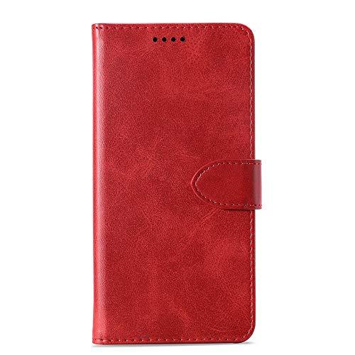 JIANGHONGYAN Custodia in Pelle a Vibrazione Orizzontale in Pelle di Vitello for Samsung Galaxy J8, con Porta-Carte e Portafogli e Portafogli (Giallo) (Colore : Red)