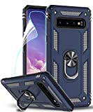 LeYi Coque Galaxy S10 avec Anneau Support, Double Couche Renforcée Défense Bumper TPU Silicone Antichoc Armure Housse Etui avec Protection écran pour Samsung Galaxy S10 Bleu foncé