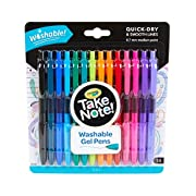 One 14-ct pack of the Crayola Take Note Medium Point Washable Gel Pens Set Each of the colored gel pens feature a comfort grip to bring ease to making streak-free lines Ink from washable writing pens can be removed from hands and clothing Use these c...