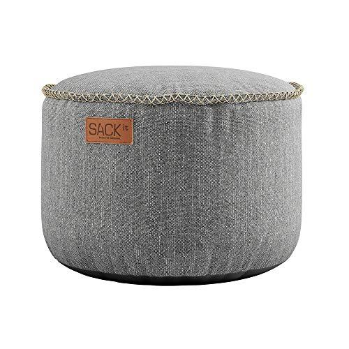 SACKit – RETROit Cobana Drum Light Grey – Rund Hellgrau Outdoor/Indoor Hocker – Perfekt für das Wohnzimmer oder draußen im Garten – Kombinieren mit einem Sitzsack – Sitzhocker/Fußhocker
