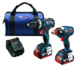 Bosch CLPK251-181 18V 2 herramientas Combo Kit con 1/4' y 1/2' Socket Ready Impact Driver y 1/2' martillo perforador/conductor, azul