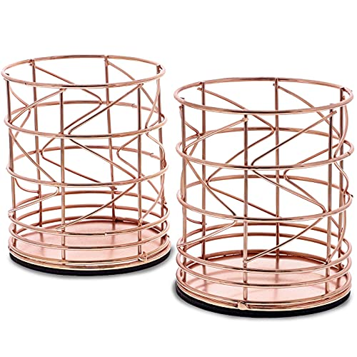 Juvale 2-Pack Rose Gold Metal Wire Makeup Brush Pencil Holders, 3.5 x 3.5 x 4 Inches