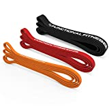 Set of 3 Functional Fitness Pull Up Bands - #1, 2, 3-5 - 100 lbs (2-45 kg)