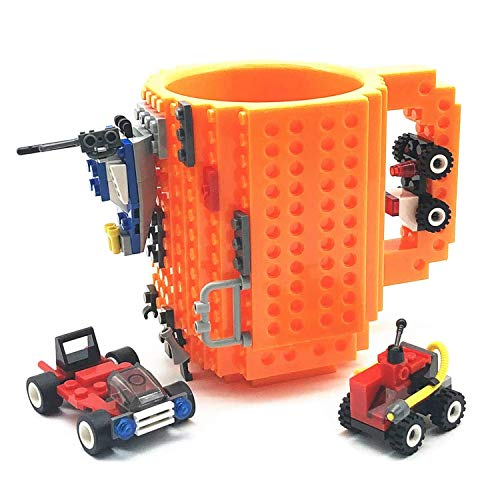 VANUODA Build-on Brick Mug, Taza Cafe, Regalos para Hombre Mujer Papá Mamá Amigos Niños Adulto, Originales Regalo Ideal para Navidad Pascua Dia del Padre Cumpleaños, Compatible con Lego (Naranja)