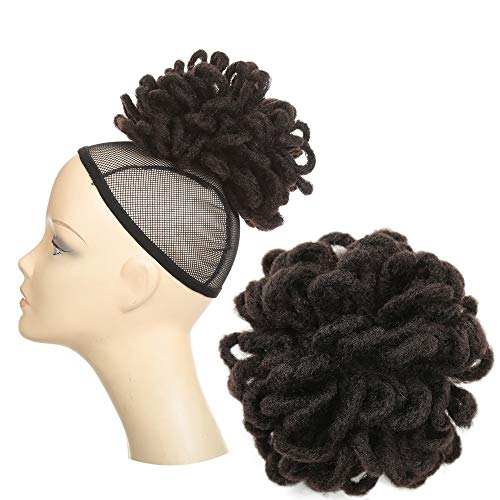 Moreyoungc Dreadlocks Crochet Braiding Hair Bun Wig Extensions Africa Style Braiding Curly Wavy Synthetic Chignon Ponytail Hairpiece Scrunchie Scrunchy Clip in/on Updo Hairpiece for women (4#)
