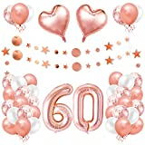 60er Cumpleaños Globos, Decoración de Cumpleaños 60 en Oro Rosa, Cumpleaños 60 Año, Feliz Cumpleaños Decoración Globos 60 Años, Decoracion Cumpleaños para Niñas y Mujeres