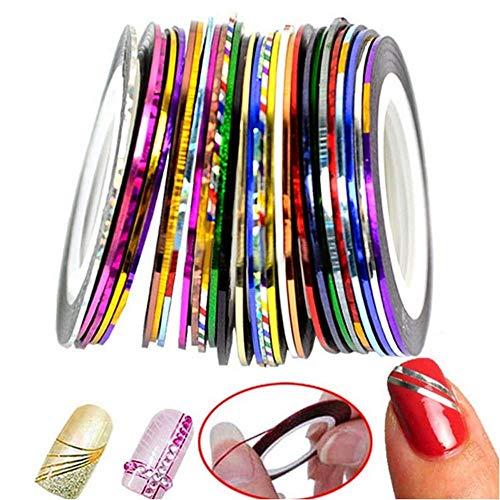 Adesivo decorazione per unghie, Anlising 30 rotoli di nastro adesivo per unghie nail art strisce per unghie strisce per unghie in diversi colori Nastro adesivo per strisce con nastro per strisce
