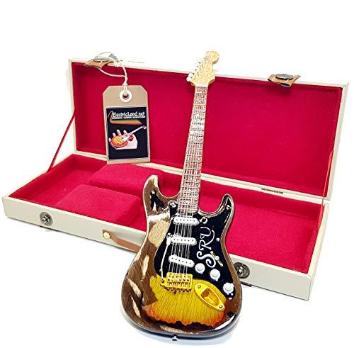 mini guitar Stevie Ray Vaughan SRV stratocaster N°1 replica model + hard case box miniature in scala 1:4 chitarra miniatura con custodia da collezione gadget rock memorabilia