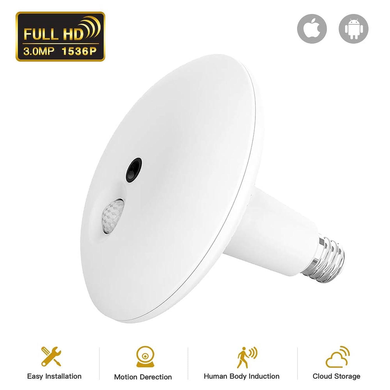 JUKEY Light Bulb Camera 1536P Camera PIR Body Sensing Motion Detection Night Vision 360 VR Panoramic Security Camera V2.0 Smart LED Flood Light, APP for Android iOS