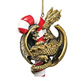 Design Toscano Gothic Dragon with a Candy Cane Sweet Tooth Christmas Tree Ornament, 4 Inch, Single