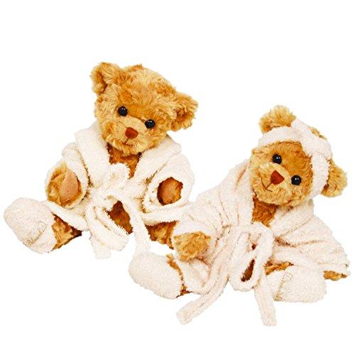 Teddybär *Mrs. Bukowski*mit Bademantel & Pantoffeln Super weich braun ca. 30 cm