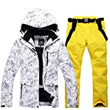 SR-Keistog Pantalones de Nieve térmicos Impermeables a Prueba de Viento al Aire Libre para Hombres Conjuntos de esquí y Snowboard Chaqueta de esquí q10 XXL