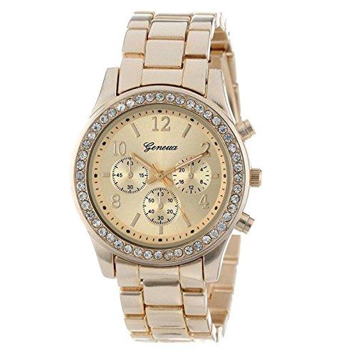 JH Faux clásico cristales redondos reloj cronógrafo de cuarzo Dorado dorado