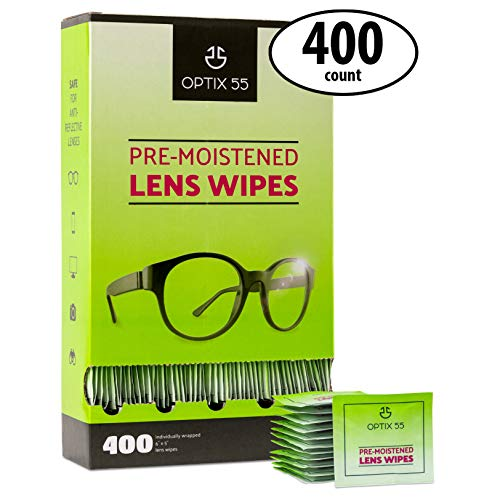 Eyeglass Lens Wipes - 400 Pre-Moistened Cloths - Glasses Wipe is Safe for Eye Glasses, Sunglasses, Phone Screens, Electronics, Computer Monitor & Camera Lense | Streak-Free