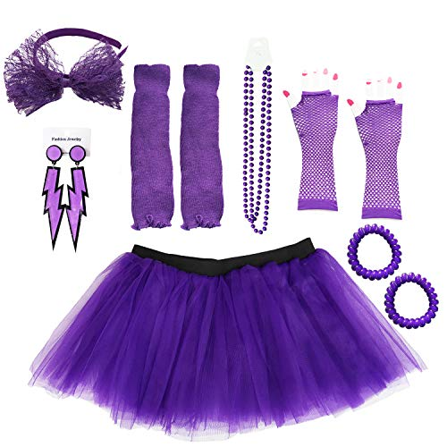 Dreamdanceworks 80s Costumes Accessories Set for Women Tutu Skirt, Purple With Headband, One Size