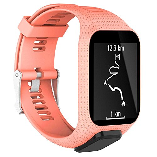 KOBWA Tomtom Uhrenarmband, Silikon Ersatz Uhrenarmbänder Straps Sport Armband für Tomtom Runner 2 / Runner 3 / Spark 3 / Abenteurer/Golfer 2 Sport GPS-Lauf