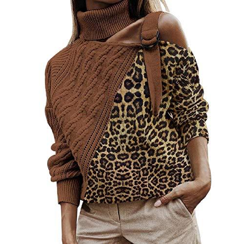 NOBRAND Leopard Patchwork suéter de cuello alto sexy para mujer sin perros color bloque leopardo suéteres Batwing manga larga sin tirantes