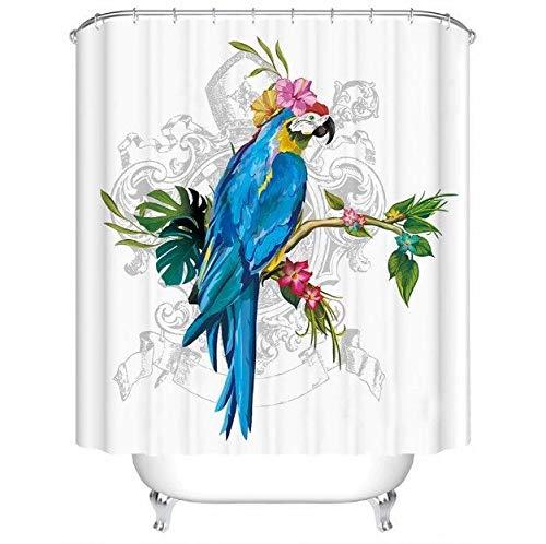 ArthuereBack Papagei Duschvorhang Ara Tropische Papageien Duschvorhänge Wasserdicht 86