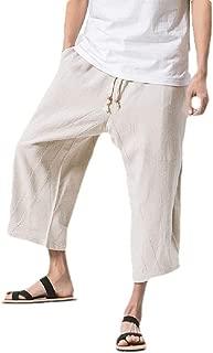 Mogogo Men's 3/4 Pants Waistband Stretchy Summer Wide Leg Classic Pants