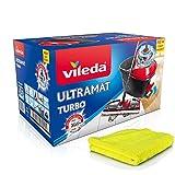 Vileda Ultramat Turbo Set complet de nettoyage des sols Avec raclette et seau muni...
