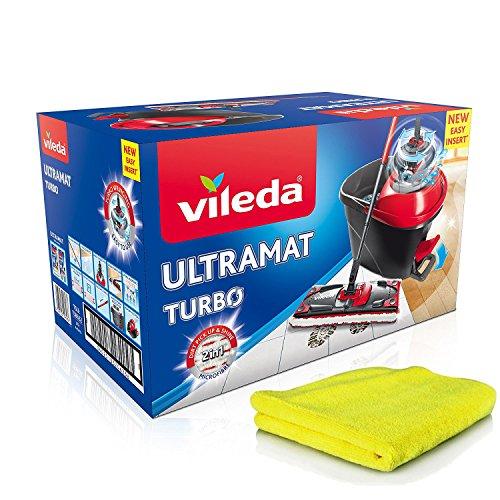 Vileda Ultramat Turbo Komplett Set, Bodenwischer und Eimer mit PowerSchleuder + extra Mikrofaser-Reinigungstücher