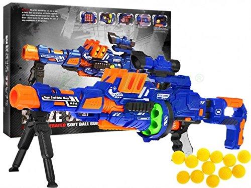 L'arma presentata è perfetta per la concorrenza in spazi aperti o piccoli spazi stretti La nuova generazione di pistole soddisfa gli ultimi standard di sicurezza per i giocattoli Pistole Dimensioni: 71x21x10 cm, cartone Dimensioni: 52,5x38,5x11,5 cm ...