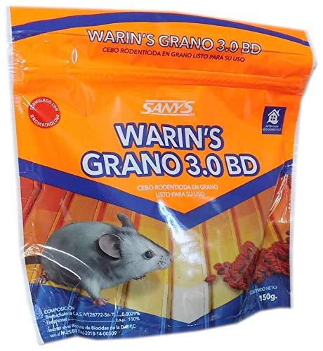 Warin's Grano 3.0 BD – Veneno en Cereales con Bromadiolona al 0,0029% para Matar Ratas, Ratones y roedores - 150 gr.