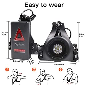 DigHealth Luz para Correr, 3 Modos LED Luz de Pecho Recargable USB Impermeabl con Luz de Advertencia de Seguridad Trasera para Cámping Excursionismo Corriendo Ciclismo Trotar