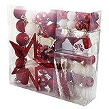 Angoily 60 Piezas de Adornos de Bolas de Navidad para Decoraciones de Árbol de Navidad Rojo Y Juego de Adornos de Navidad Irrompibles para Árbol de Navidad Vacaciones Decoración de