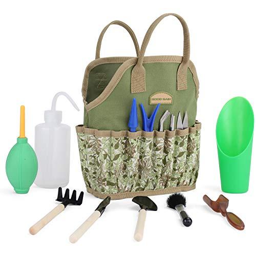G GOOD GAIN Bonsai Tools, Succulent Kit with Organizer Bag,Indoor Mini Hand Gardening Tool Set, 14 Pieces Tools for Bonsai Planter Miniature Fairy Planting Care. (Honeysuckle)