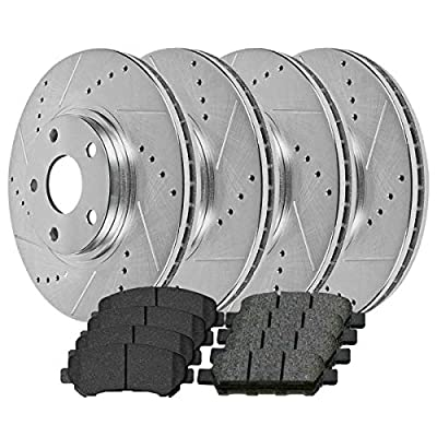 AutoShack BRKPKG039946 Set of 4 Front and Rear Drilled and Slotted Disc Brake Kit Rotors and Ceramic Pads Replacement for 2008 2009 2010 2011 2012 2013 Nissan Rogue 2014 2015 Rogue Select