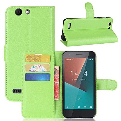 Tasche für Vodafone Smart E8 Hülle , Ycloud PU Kunstleder Ledertasche Flip Cover Wallet Hülle Handyhülle mit Stand Function Credit Card Slots Bookstyle Purse Design grün