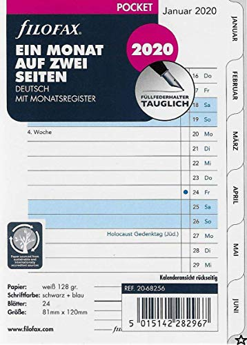 Filofax Kalendereinlage Pocket 1 Monat auf 2 Seiten tabbed (deutsch)2020
