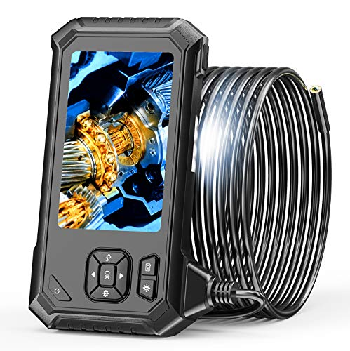 SKYBASIC Industrie Endoskop, HD 1080P Inspektionskamera mit 4,3 Zoll LCD-Bildschirm 8 mm wasserdichte Schlangen-Endoskopkameras mit 6 einstellbaren LED-Leuchten, halbstarres Kabel, 32 GB TF-Karte