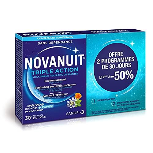 Novanuit Sommeil Triple action - Comprimés Sans Dioxide de Titane - 2 Mois de TRAITEMENT - Lot de 2 Boites de 30 Comp (2)