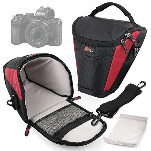 DURAGADGET Funda Negra Y Roja Compatible con Cámara Olympus OM-D E-M5 Mark III, Nikon Z50, Nikon Z 50, Kodak PIXPRO WPZ2 - Acolchada En Su Interior