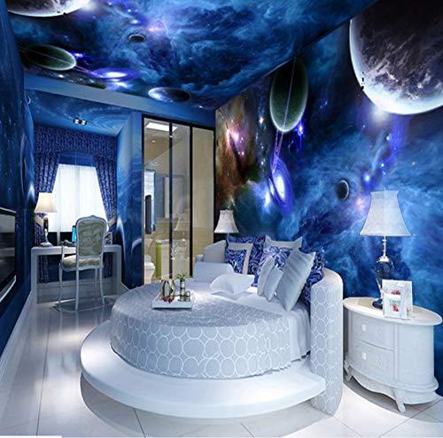 Wiwhy 3D Wandbilder Galaxy Fluoreszierende Fototapeten Feuchtigkeit Wohnkultur Wandpapierrolle Wohnzimmer Schlafzimmer Tapete Landschaft-350X250Cm