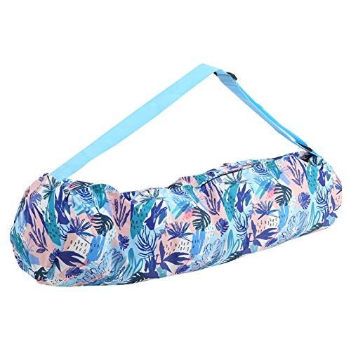 Uxsiya Mochila de yoga de lona de tubo largo de un solo hombro para viajes de fitness (impresión azul)