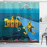ABAKUHAUS Gelbes U-Boot Duschvorhang, Taucher Delfine, mit 12 Ringe Set Wasserdicht Stielvoll Modern Farbfest & Schimmel Resistent, 175x180 cm, Benzinblau & Ingwer