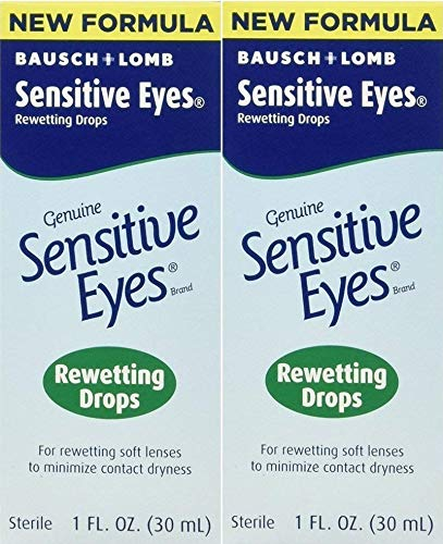 Bausch & Lomb Sensitive Eyes Rewetting Drops for Soft Contact Lenses-1 oz, 2 pack
