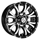 Viking Series Machined Lip and Face Gloss Black Aluminum Trailer Wheel with Black Cap - 16' x 6' 8 On 6.5-3750 LB Load Carrying Capacity - 0 OffsetTrailer Use Only