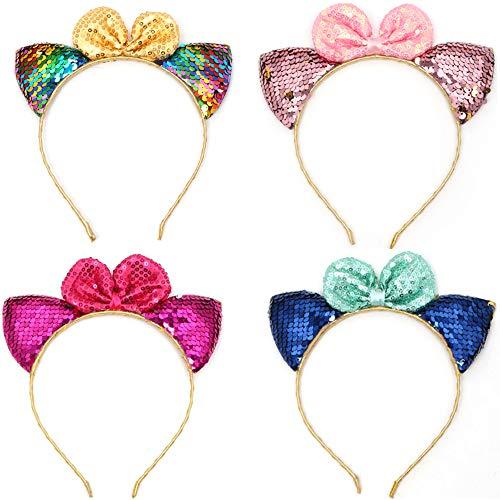 4 Stück Katze Ohren Haarreif, Ouinne Katzenohren Stirnbänder Glitter Stirnband Haarband Haarschmuck Party Kostüm für Mädchen und Erwachsene