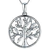 YL Lebensbaum Kette Damen-925 Sterling Silber Halskette mit 5A Zirkonia Stammbaum Anhänger Kette für Frauen Mädchen Mutter, Kettenlänge 45-48 CM