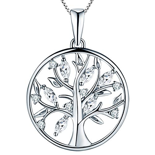 YL Lebensbaum Kette Damen-925 Sterling Silber Halskette mit 5A Zirkonia Stammbaum Anhänger Kette Weihnachtsgeschenke für Frauen Mädchen Mutter, Kettenlänge 45-50 CM