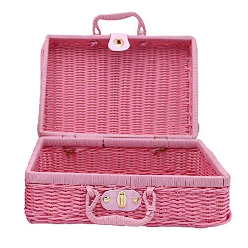 XPT Travel Picnic Storage Case Handmade Weaving Mini Suitcase Rattan Photo Props Cosmetic Luggage Basket Holder for Outdoor Photo Props Light Pink*XL